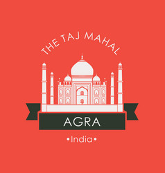 banner with taj mahal in agra indian attraction vector image