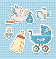 Bashower card with set items vector