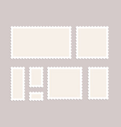 Blank postage stamps set isolated mark vector