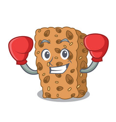 Boxing granola bar character cartoon vector