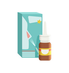 brown glass medical nasal antiseptic spray bottle vector image