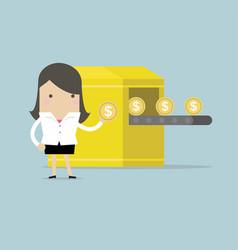 businesswoman with money making machine vector image