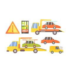 car evacuation set road assistance service help vector image