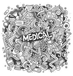 Cartoon cute doodles hand drawn medical vector