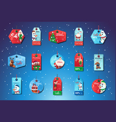 Christmas sale tags set of colorful special offer vector
