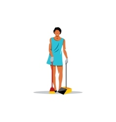 Cleaning service sign girl with a brush vector