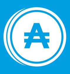 Coin austral icon white vector