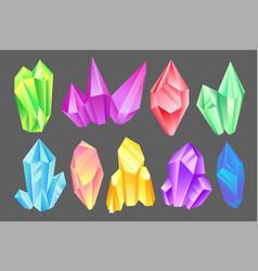colorful minerals set crystals gems precious vector image