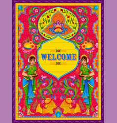 colorful welcome banner in truck art kitsch style vector image