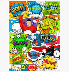 Comic book page divided by lines with speech bubbl vector