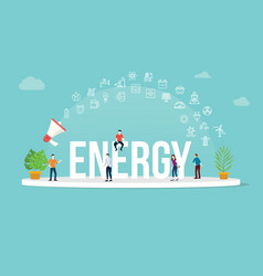 energy concept with team people working together vector image