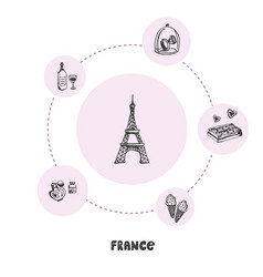 famous france symbols doodle concept vector image
