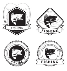 Fishing Bass Label vector image