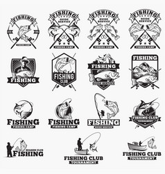 fishing logo badges vector image