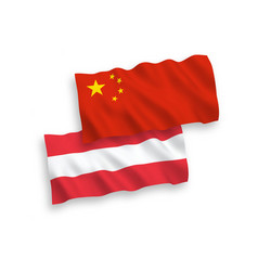 Flags of austria and china on a white background vector