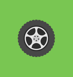 Flat car wheel with tyre icon on green vector