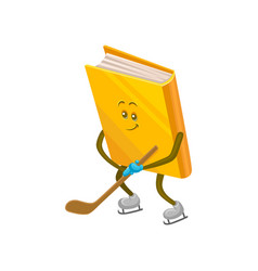 funny humanized book character playing hockey on vector image