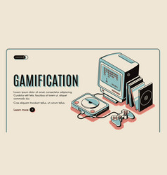 Gamification gamer playing console playstation vector