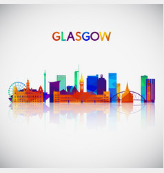 glasgow skyline silhouette in colorful geometric vector image