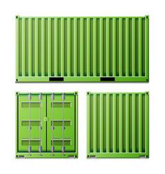 Green cargo container freight shipping vector