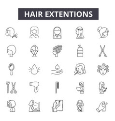 Hair extentions line icons signs set vector