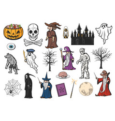 halloween ghost witch mummy and pumpkin icons vector image