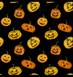 halloween pumpkin seamless pattern orange vector image