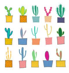 Hand drawn cactus in pots vector