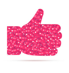 Hand thumbs up red icon of likes filled vector