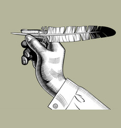 Hand with a feather pen vector