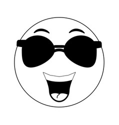 Happy emoji with sunglasses instant messaging ic vector