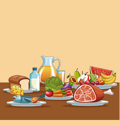 healthy food cartoon vector image