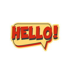 hello short phrase speech bubble in retro style vector image