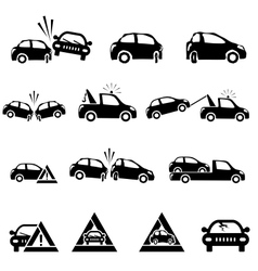 icons set car accident vector image