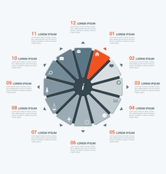Infographic template with dodecagon 12 options vector