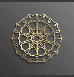 Islamic 3d gold on dark mandala round ornament vector