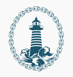 Lighthouse in circle chains engraving emblem vector