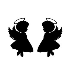 Little angel silhouettes vector