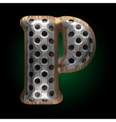Metal and wood figure p vector