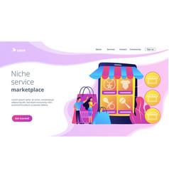 Niche service marketplace concept landing page vector
