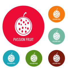 Passion fruit icons circle set vector