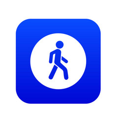 Pedestrians only road sign icon digital blue vector