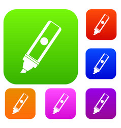 Permanent marker set color collection vector