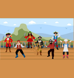 pirates on ship deck on sea travel vector image