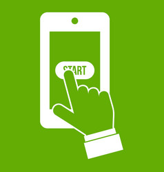 playing games on smartphone icon green vector image