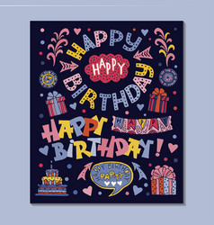 poster for the birthday greetings vector image