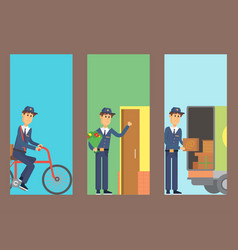 Postman delivery man cards character vector