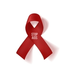 Realistic red Ribbon with Stop AIDS Text vector