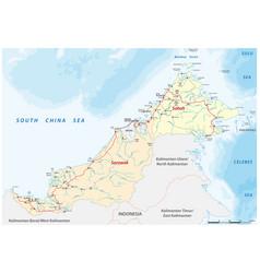 Road map sabah sarawak malaysia vector