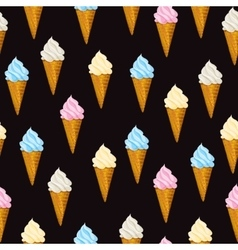 Seamless background Ice cream waffle cone vector image